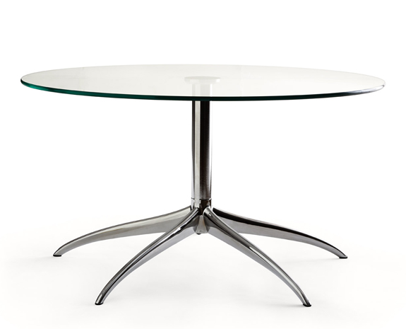 Table ronde en verre sur pied métallique inox, Stressless Urban L(large)