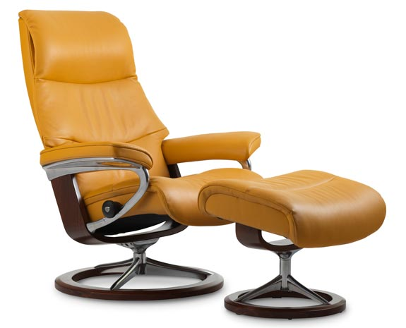 Fauteuil grand confort inclinable en cuir, Stressless View avec pied ...