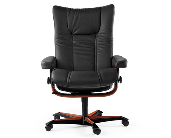 Fauteuil de bureau ergonomique, inclinable, grand confort, Stressless Wing Office, en cuir noir