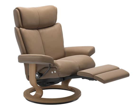Stressless Magic LegComfort in Paloma Almond Leather, wood Oak
