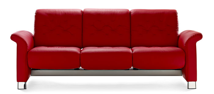 Canapé moderne 3 places confortable avec dossier inclinable en cuir bleu Stressless Metropolitan 3 places.