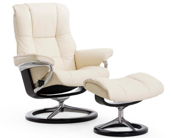 Fauteuil cuir blanc moderne inclinable Stressless Mayfair Signature