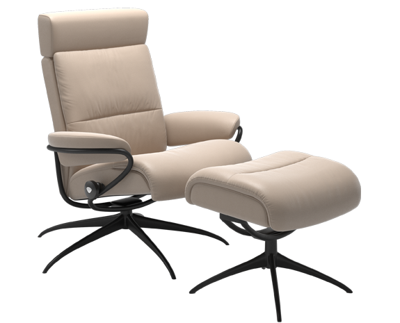 Stressless Tokyo with adjustable headrest, leather Cori Vanilla, black base